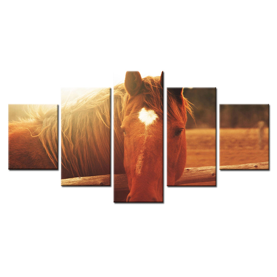 New Arrival -  Home Decor Living Room Canvas 5 Panel Horse Heart Wall Art