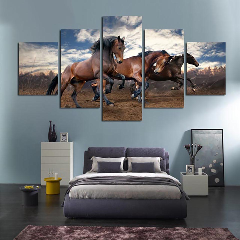New Arrival -  Home Decor Living Room Canvas 5 Panel Horse Running Wall Art