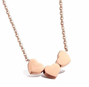 New Women Three Love Heart Pendant Choker Necklace Silver/Gold/Rose Gold Collar Chain Charming Jewelry Gift #254789