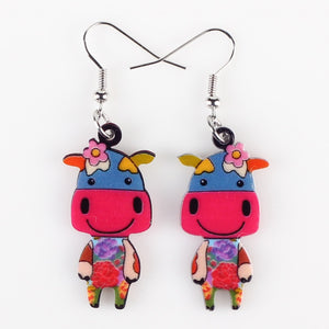 Cute Cow Earrings Acrylic Pattern  Earrings
