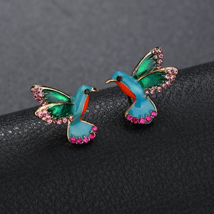 Crystal Hummingbird Stud Earrings