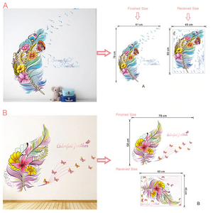3D Feather & Butterfly Wall Stickers Decoration
