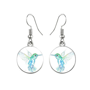 Colorful Hummingbird Glass Earrings