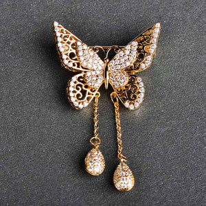 Crystal Butterfly Tassel Brooch