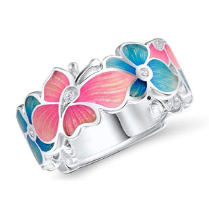 Pink Flower & Butterfly Ring