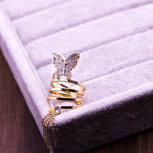 Long Chain Gold Tassels Butterfly Ring