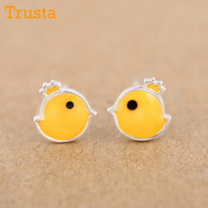 New Earring Cute Tiny Yellow Glaze Chicken