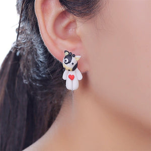 New Arrival Polymer Clay Heart Cute Cow 3D  Earrings