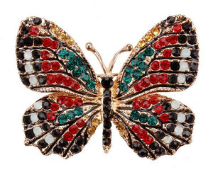 Multi-Color Crystal Butterfly Brooches