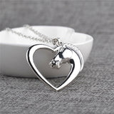 New Arrival White Horse in Heart Pendant Necklace