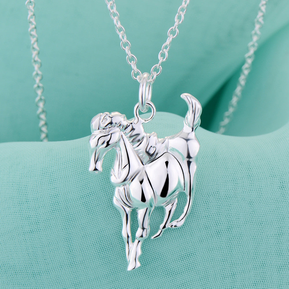 Horse shiny lucky silver plated Necklace