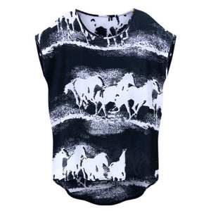 2019 SummerT-shirt Horses Printed
