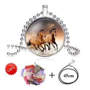 Silver Plated Girls Running Horse Necklace