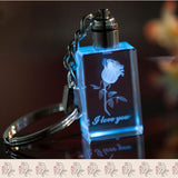 Crystal Keychain Couples Colorful Flashing Led Lights