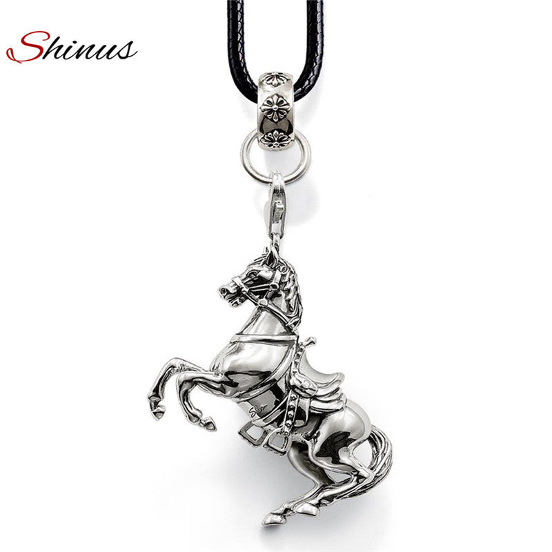 Jewelry Necklace Women Horse Long Leather Necklaces & Pendants