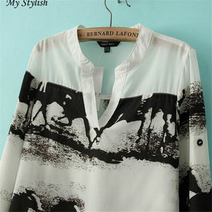 2017  Women Long Sleeve Casual Black Horse White Shirt