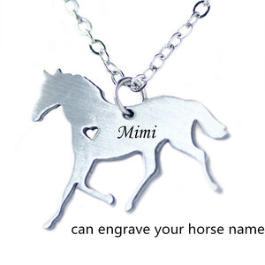 Custom Horse Necklace Stainless Steel Jewelry, Engrave Horse Name