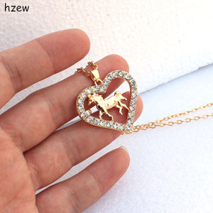 Crystal heart-shaped horse pendant necklaces women's fashion