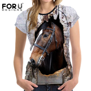 3D Crazy Horse Women T Shirt 2017
