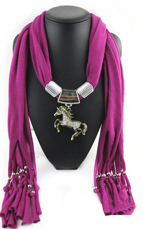 Fashion Jewelry Horse Pendant Necklace Costume Scarf