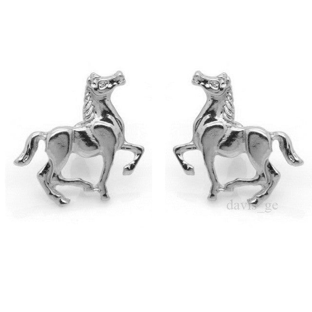 "2017 New Fashion Cool Gold/Silver Tone Horse 0.8""X1"" Stud Earrings"