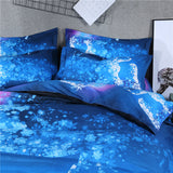 3D Galaxy Bedding Blue Color White Horse Printed Duvet Cover Cotton Blend