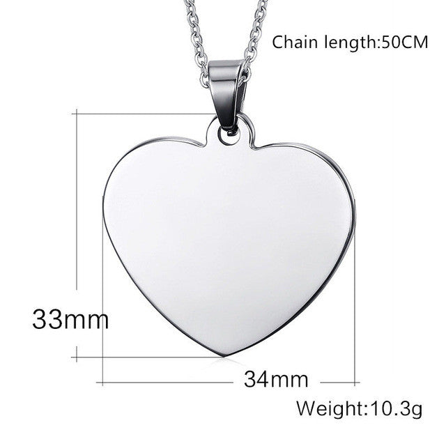 Customize Stainless Steel Heart Shaped Pendant Personalized Necklace with any message