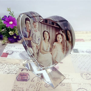 Customized Heart Shape Glass Ornaments Personalized Picture Glass