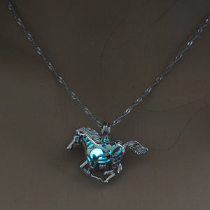 Horse Necklace GLOW in the DARK night Necklace