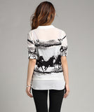 New Arrival Women T-shirt Ink Horse Print