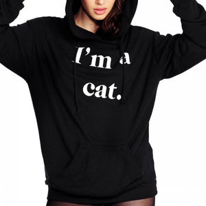 Hot New Arrival Womens Cat Long Sleeve Hoodie Sweatshirt