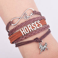 Handmade Horse Charm Leather Bracelet