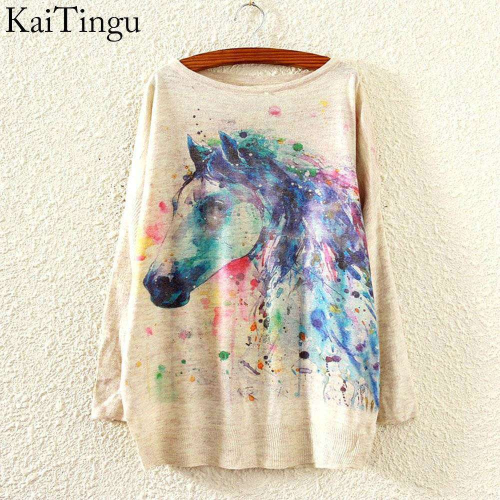 New Arrivcal Women Sweater And Pullover Long Horse Print