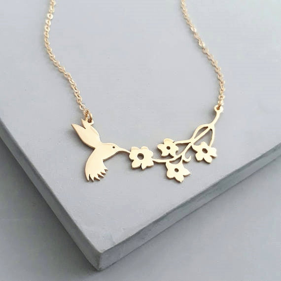 Geometric Hummingbird Necklace