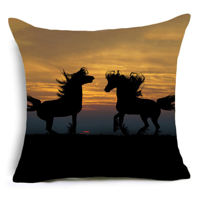 New Horses Polyester Cushion Cover 45x45 cm