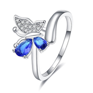 Blue Crystal Butterfly Ring