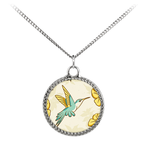 Hummingbird and Flower Necklace Deco Coin