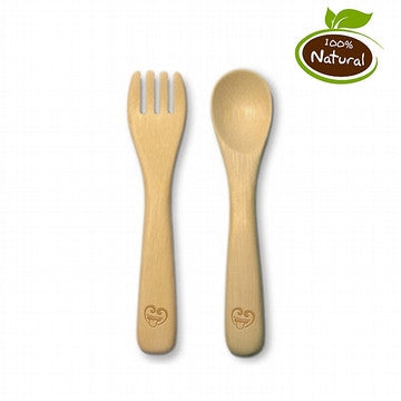 Bamboo Cutlery Spoon and Fork Set - Pack of 2