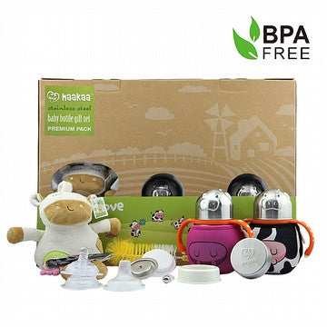 Stainless Steel Baby Bottles Gift Set Premium Pack