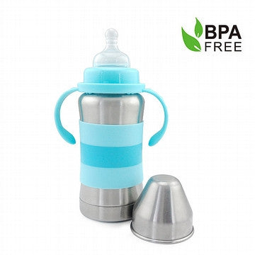Blue 270ml Standard Neck Stainless Steel Thermal Bottle For Babies