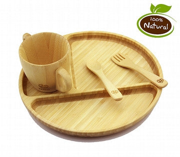 Round Baby Plates Bamboo Made 4 Piece Set