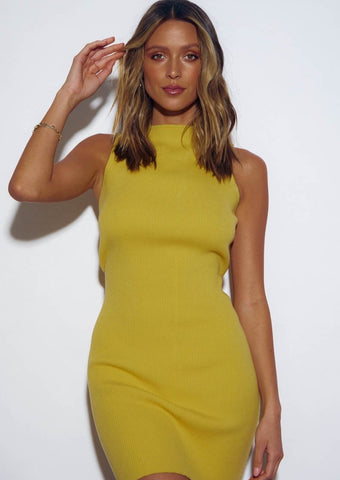 MISH RIBBED MINI DRESS - MARIGOLD
