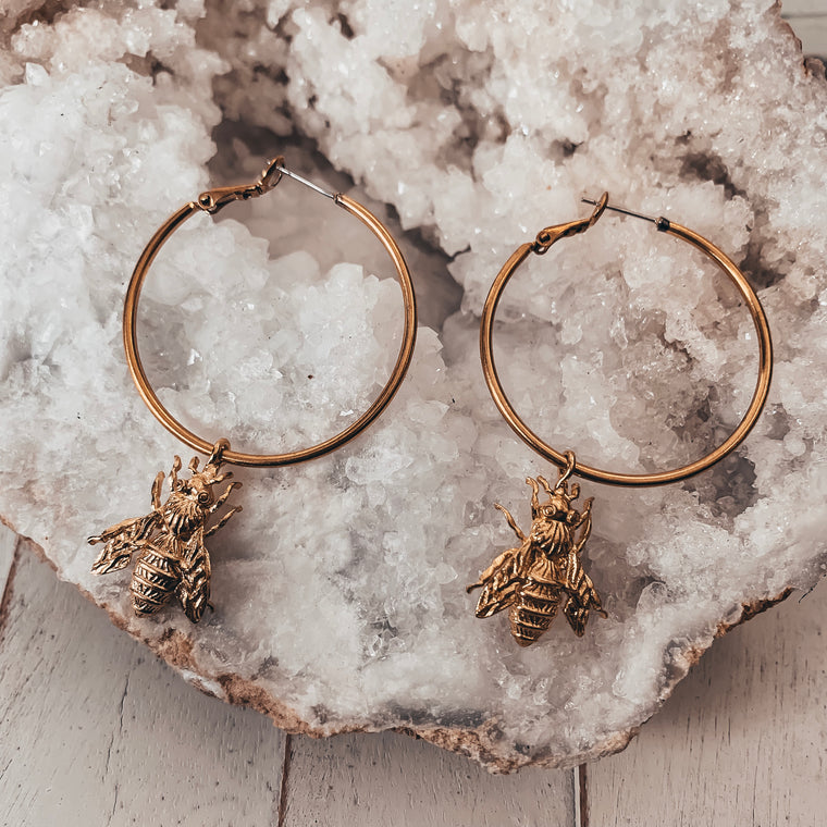 Bee Hive Hoop Earrings