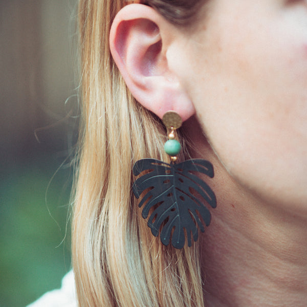 Jamie Monstera Studs