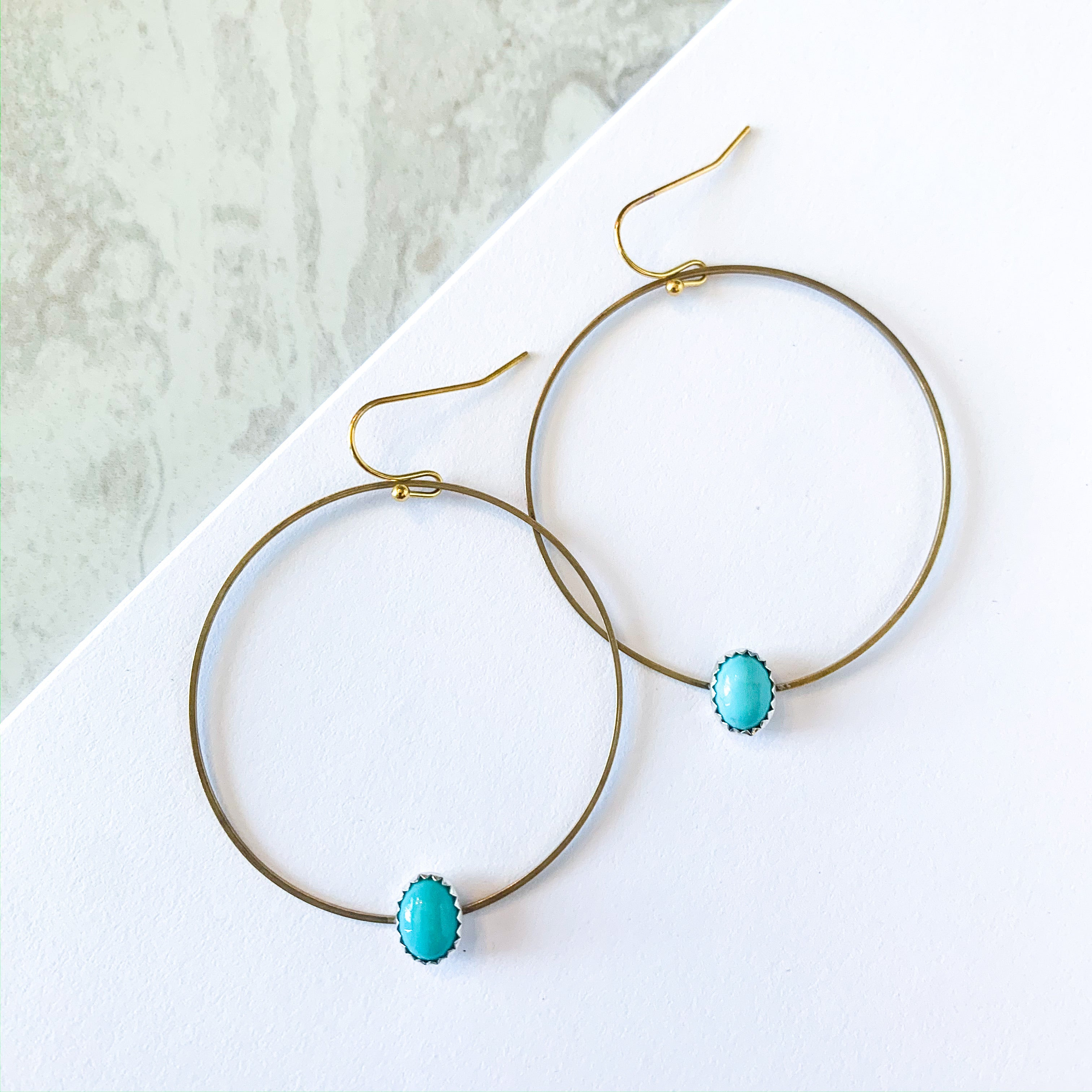 Turquoise & Brass Hoops