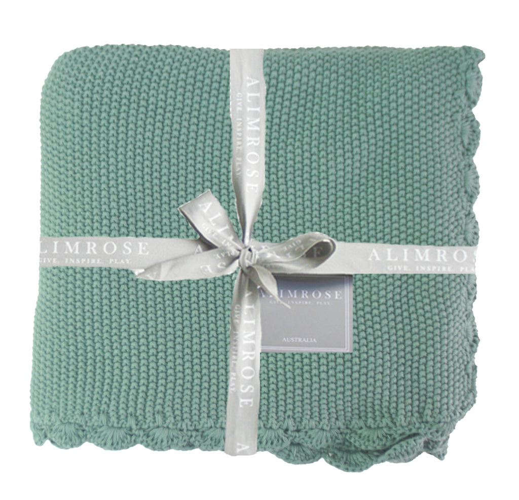 Organic Cotton Moss Stitch Blanket - Sage