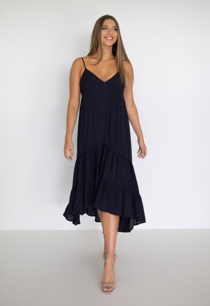 Tiered Dress - Navy