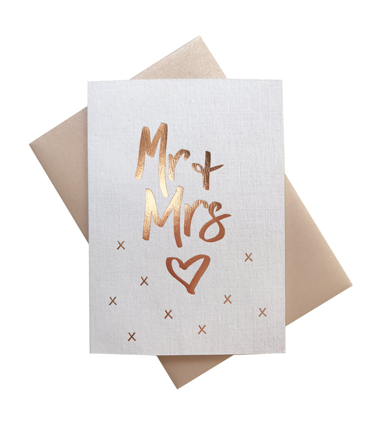 'Mr + Mrs' gold foil card
