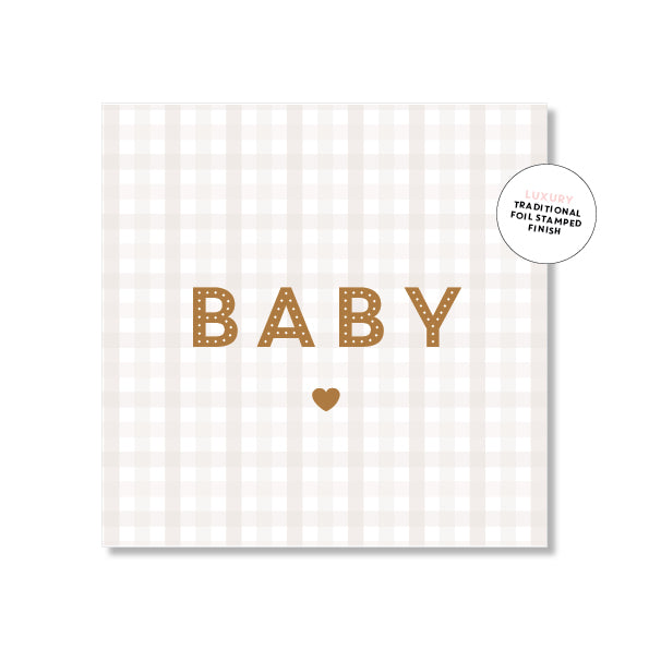 Gingham Baby  Card – Beige & Gold Foil