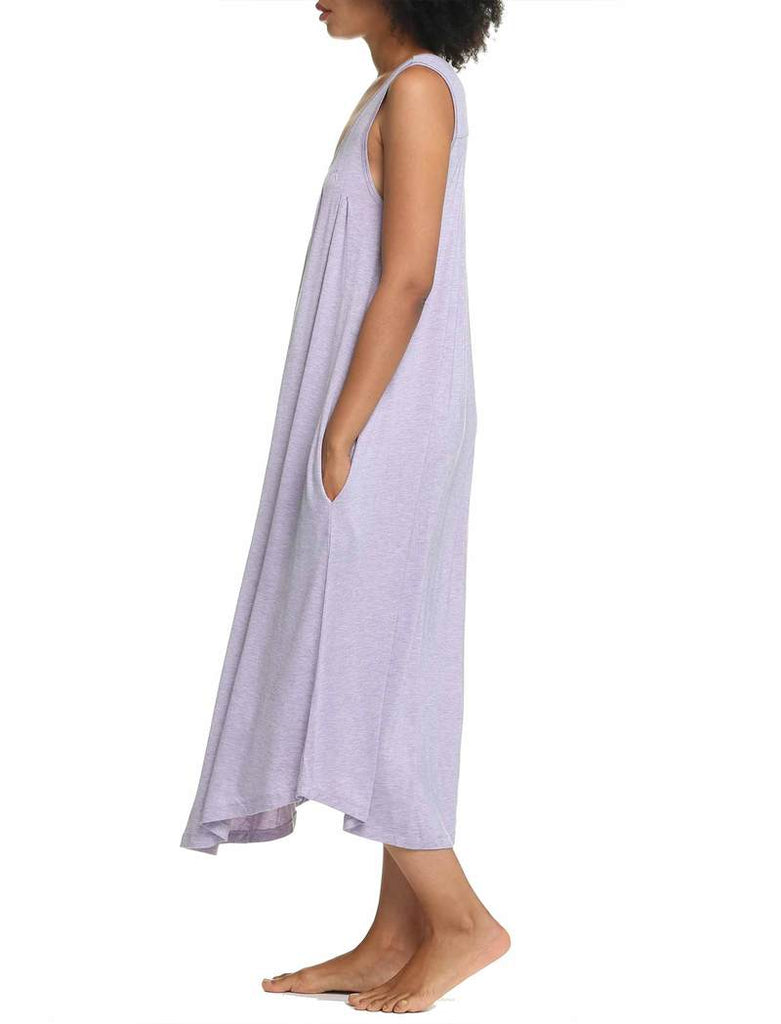 Modal Soft Pleat Front Maxi Nightie - Lilac